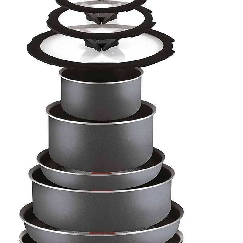 Batteria di Pentole, 14 Pezzi in Alluminio di colore nero